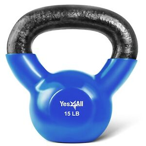 Kettlebell-15-lbs-Weights-Lifting-Workout-Gym-Fitness-PVC-Coated-Kettlebells