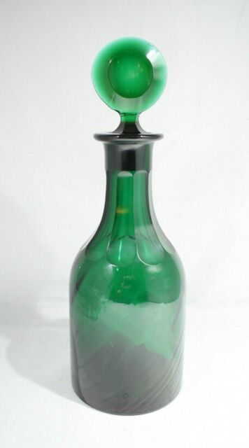 ANTIQUE FRENCH GREEN GLASS DECANTER CUT GLASS 11.5