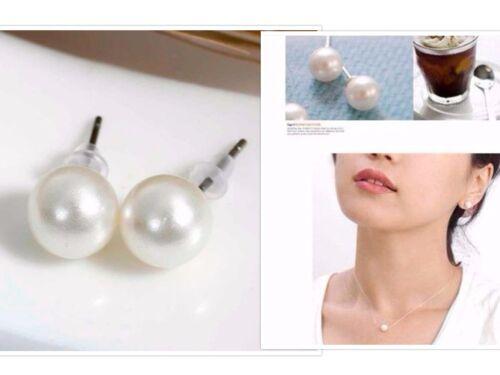 Blanco perla Stud pendientes de plata de boda nupcial Pequeño Elegante Redondo simple baile de graduación