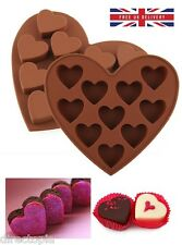 10 X Heart Shaped Chocolate Ice Jelly Fondant Silicone Mould Tray Cake Valentine