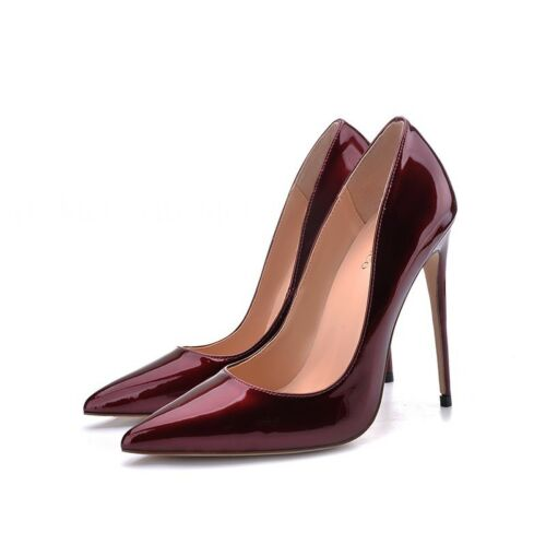 Women/'s Stilettos High Heels Patent Leather Pointed Toe Pumps Party Bridal Shoes
