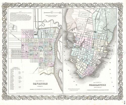 MAP ANTIQUE 1855 COLTON SAVANNAH CHARLESTON CITY PLANS REPLICA PRINT PAM1747