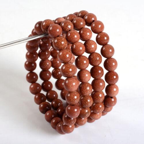 Men/'s Natural Sable Doré Gemme Perles Rondes Stretch Bangle Bracelet À faire soi-même 8 mm