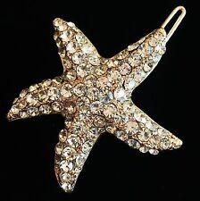 USA Hair Clip use Swarovski Crystal Hairpin Starfish Mermaid Gold Wedding Bridal