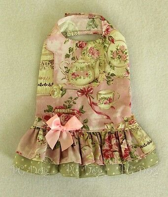 S New Dropwaist Tea Rose Baby pink and Green  Dog dress clothes Small PC Dog®