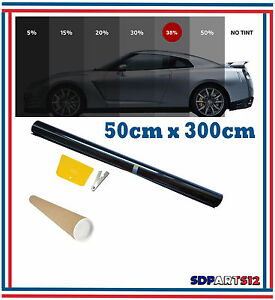 Film-Solaire-De-Qualite-3m-x-50cm-Teinte-35-VLT-couleur-Noir-Auto