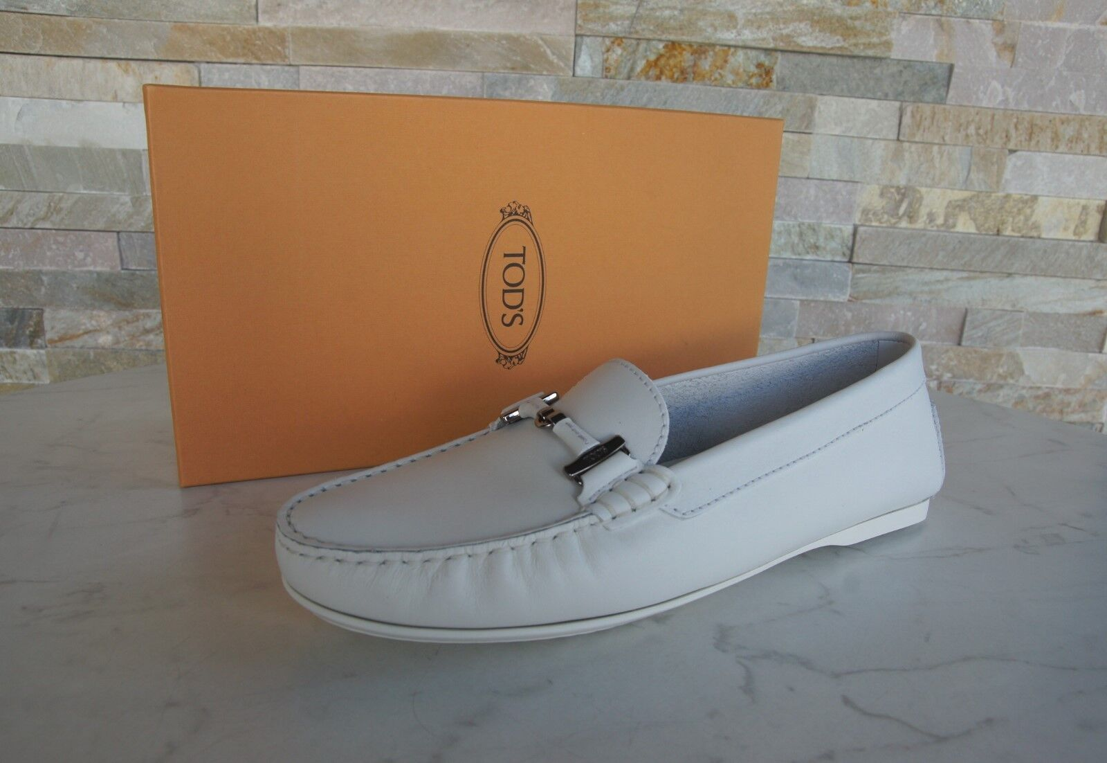 Tods Tod S Gr 40,5 Slippers Moccasins Low shoes White New Previously