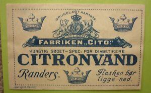 OLD-SOFT-DRINK-CORDIAL-LABEL-1950s-FABRIKEN-CITO-RANDERS-DENMARK-CITRONVAND-1