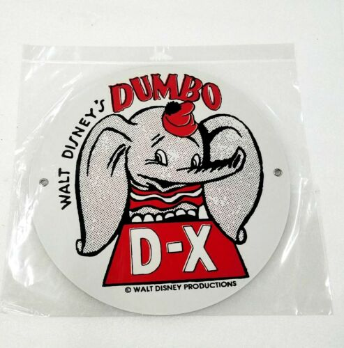 "Disney Dumbo elephant DX gas oil station company 12/"" Round Metal sign vtg style"