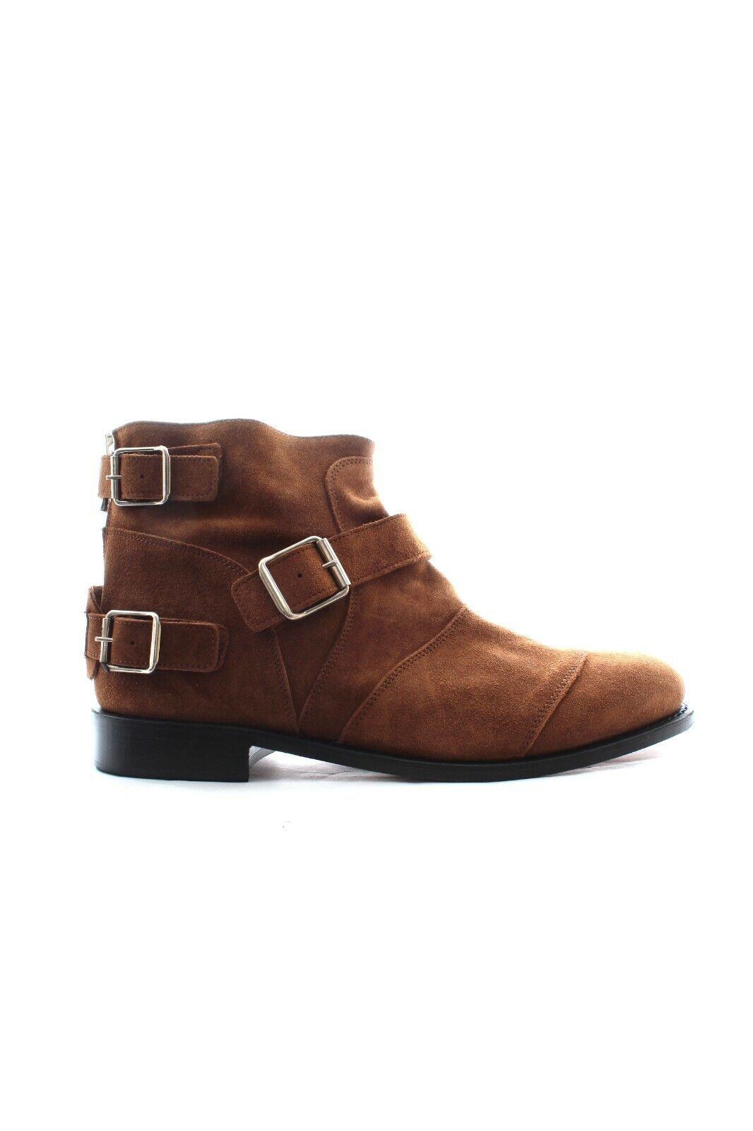Balmain x H&M Suede Buckled Ankle Stiefel   braun