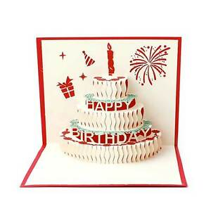Cartolina biglietto auguri 3D TORTA origami pop up kirigami BUON