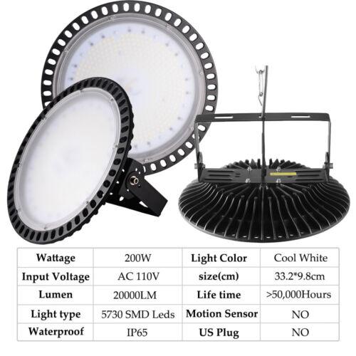 LED High Bay Light UFO 300W 200W 100Watts Warehouse GYM Fixture Outdoor Lighting
