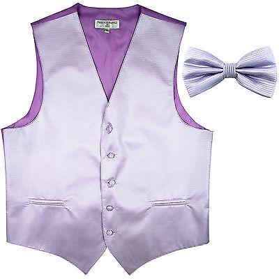 Mens Lavender Purple Patterned Fullback Vest /& Long Tie Tuxedo Wedding Prom