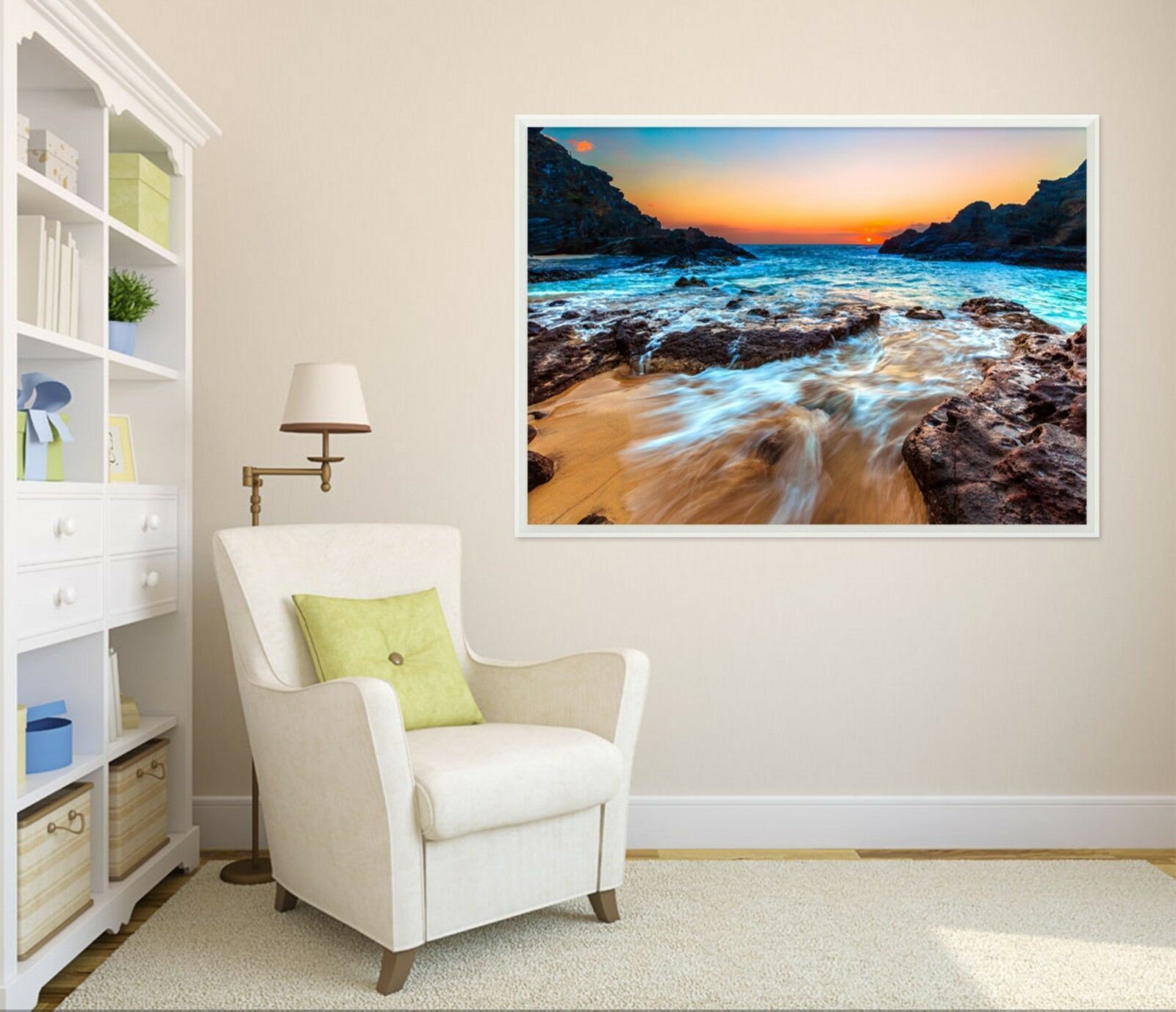3D Coucher de soleil sable 67 Framed Poster Home Decor imprimer peinture art AJ papier peint