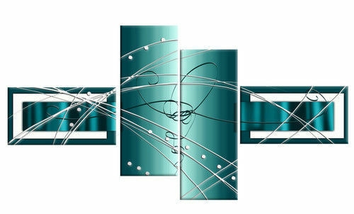 LARGE TEAL TURQUOISE ABSTRACT CANVAS PICTURES SPLIT MULTI 4 (No Frames)