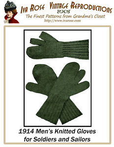 1914-Mens-Knitted-Gloves-for-Soldiers-Hunters-Sailors
