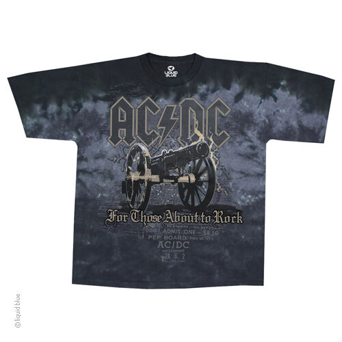 New AC/DC Cannon Tie Dye T Shirt