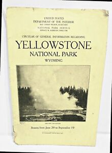 Details About Yellowstone National Park Booklet W Map 1929 U S Dept Of The Interior Pb