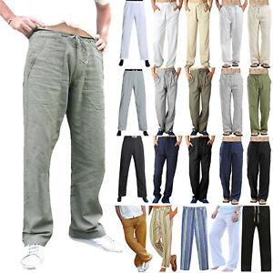 Plus-Size-Men-Casual-Linen-Loose-Wide-Leg-Pants-Holiday-Yoga-Gym-Long-Trousers