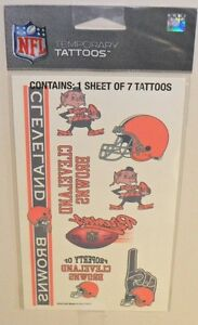 NFL-CLEVELAND-BROWNS-TEMPORARY-TATTOOS-1-SHEET-7-TATTOOS-FAST-FREE-SHIPPING