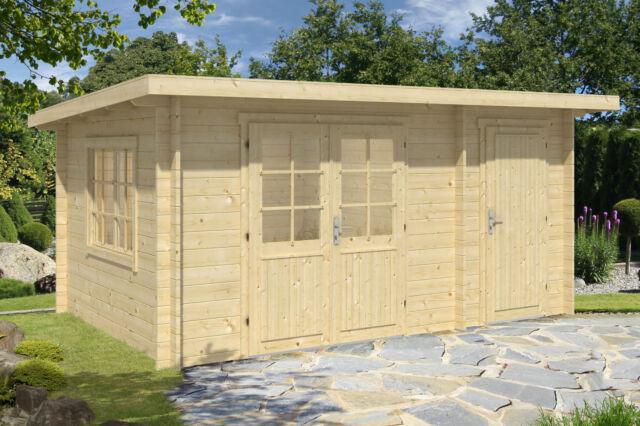 34 mm Gartenhaus Rhön P 450x300 + Anbau Gerätehaus Blockhaus Holz Haus Schuppen
