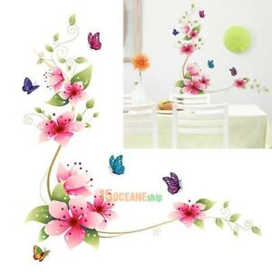 Flowers Butterfly Wallpaper Glass Stickers Bathroom Tile Wall Decor Decal Art Ebay