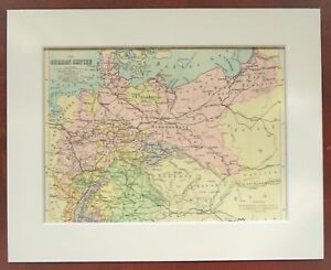 Map Of Germany 1900.Details About Germany Prussia German Empire Antique C 1900 Mounted Colour Map