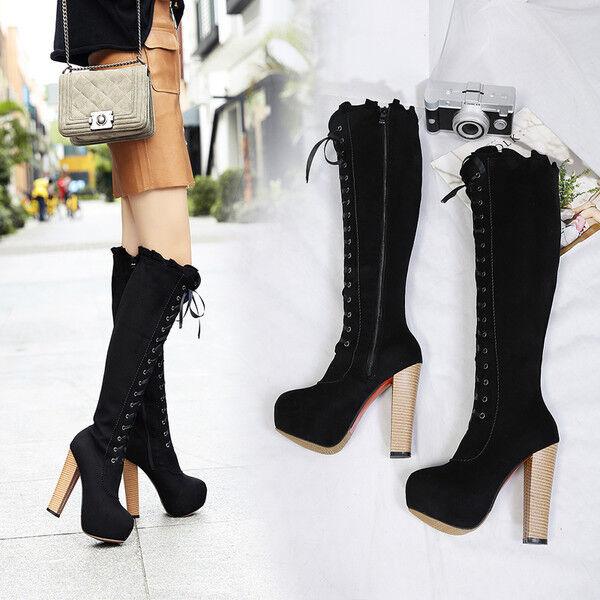 botas rodilla tacón de de de aguja 13.5 cm negro elegantes como piel 9520  El ultimo 2018