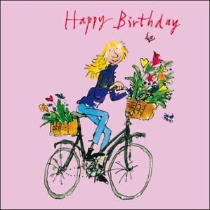 Détails Sur Lady Sur Vélo Joyeux Anniversaire Quentin Blake Carte De Vœux Square Greetings Cards Afficher Le Titre Dorigine