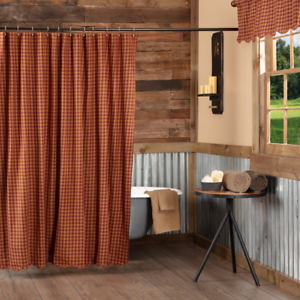 New Primitive Country Farmhouse BARN RED CHECK Scalloped Fabric Shower Curtain
