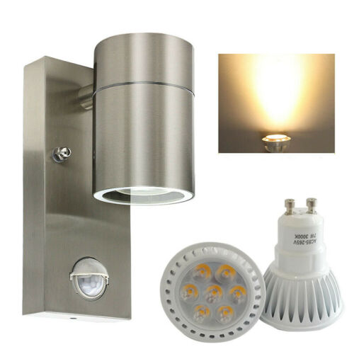 LED Aussenleuchte mit Bewegungsmelder Wandleuchte Edelstahl GU10 Außenlampe DE