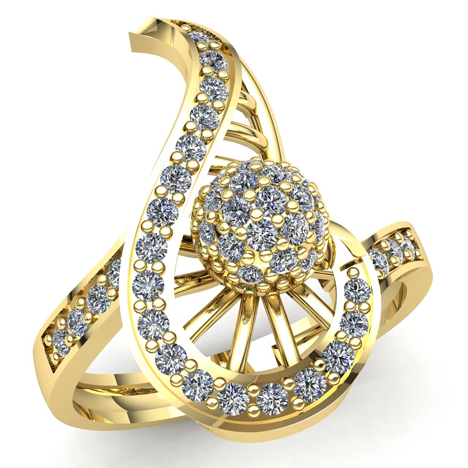 Real 1.5carat Round Cut Diamond Ladies Cluster Vintage Engagement Ring 14K gold