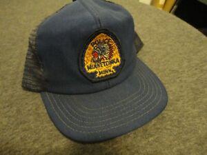 MINNETONKA MINN INDIAN POLICE VINTAGE TRUCKER HAT MESH SNAPBACK USA MADE L-XL