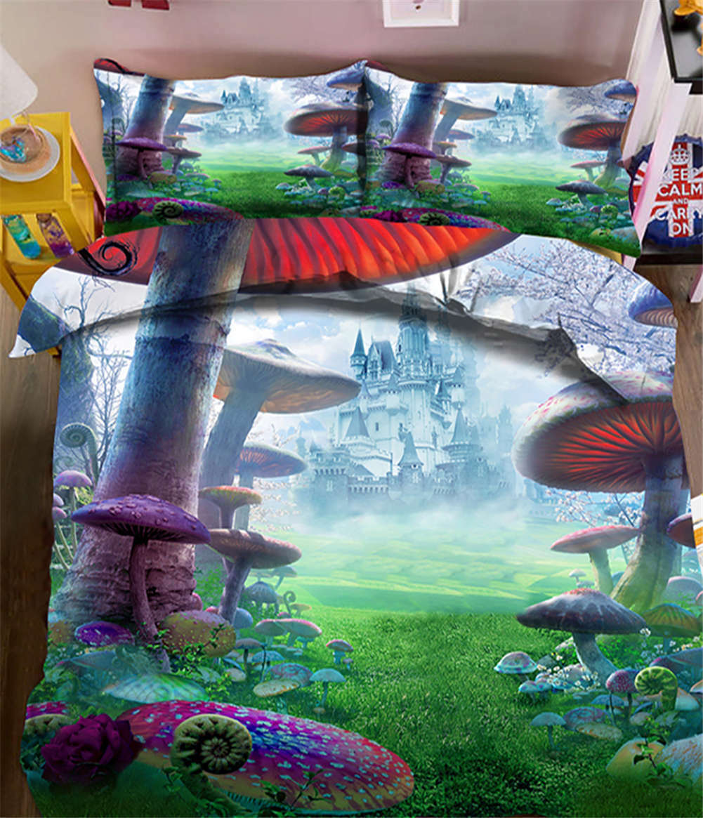 Huge Mushroom 3D Printing Duvet Quilt Doona Covers Pillow Case Bedding Sets