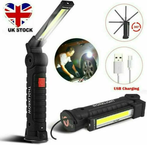 COB LED Rechargeable Work Light Magnetic Torch Flexible Inspection Lamp Cordless