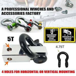 Recovery-Hitch-Receiver-5-Tonne-Rating-with-Bow-Shackle-Tow-Bar-Off-Road-4WD-4x4