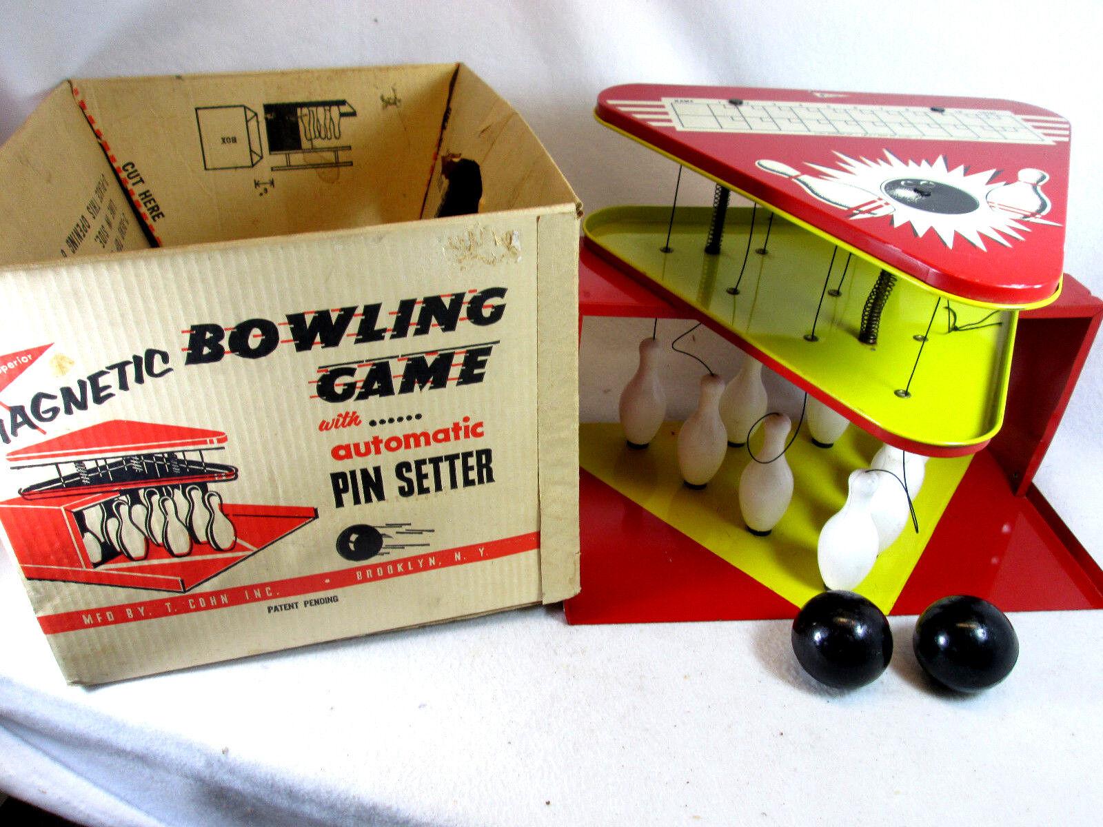 Vintage 1950's T. Cohn Superior toys tin litho magnetic bowling game w box