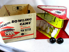 Vintage 1950's T. Cohn Superior toys tin litho magnetic bowling game w/box