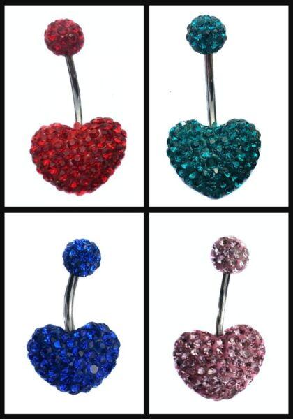1 X azul oscuro barra de corazón de la Estrella Estilo empedrada Ombligo De Acero Quirúrgico joyas de cuerpo
