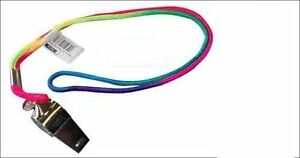 Metal-Referee-Sport-Whistle-with-Multicolour-Neck-Strap-School-PE-Dog-Training