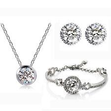 Bridal Luxury Jewellery Set White Diamante Stud Earrings Necklace, Bracelet S418