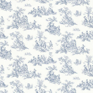 Details About French Style Blue Toile Wallpaper Cn24619 Patton Norwall Victorian Prepasted