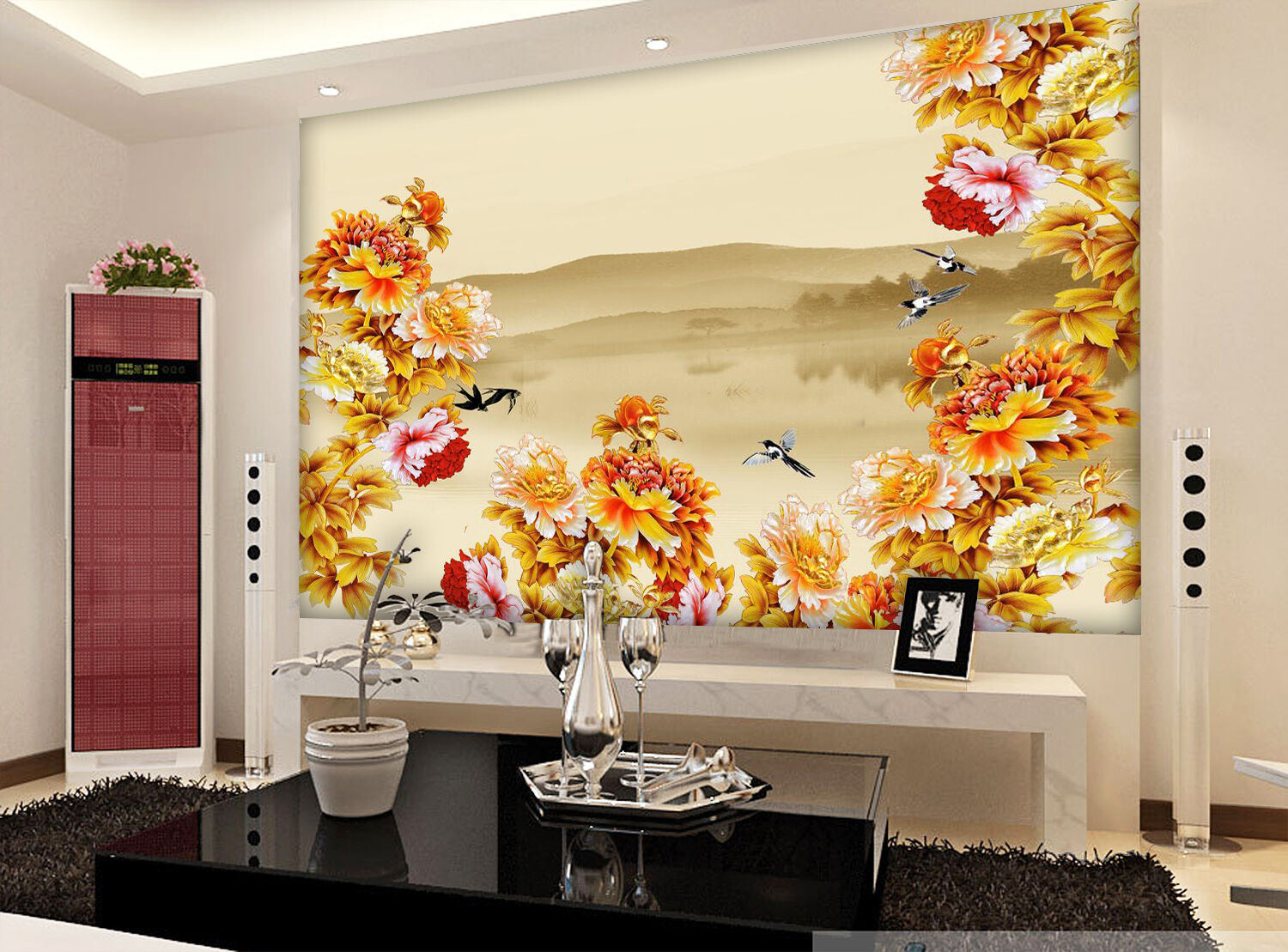 3D Lake, peony 223 Wall Paper Wall Print Decal Wall Deco Indoor Wall Murals