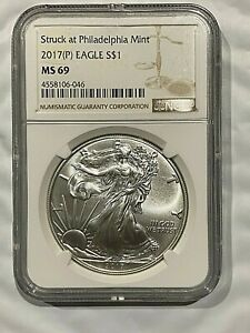 2017-P-Silver-Eagle-Dollar-1-oz-Coin-NGC-MS69-Struck-at-Philadelphia-Mint