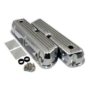 Aluminum-Tall-Valve-Covers-Retro-Finned-Polished-62-85-SBF-Ford-289-302-351W-5-0