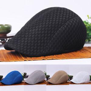 Hommes-solide-maille-Golf-Conduite-Cap-Visiere-Plat-Creux-Taxi-Newsboy-beret-chapeau