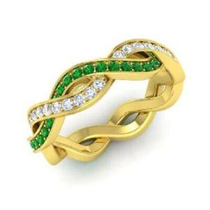 1.08 Ct Genuine Diamond Emerald Engagement Eternity Band 14K Yellow Gold Size 5