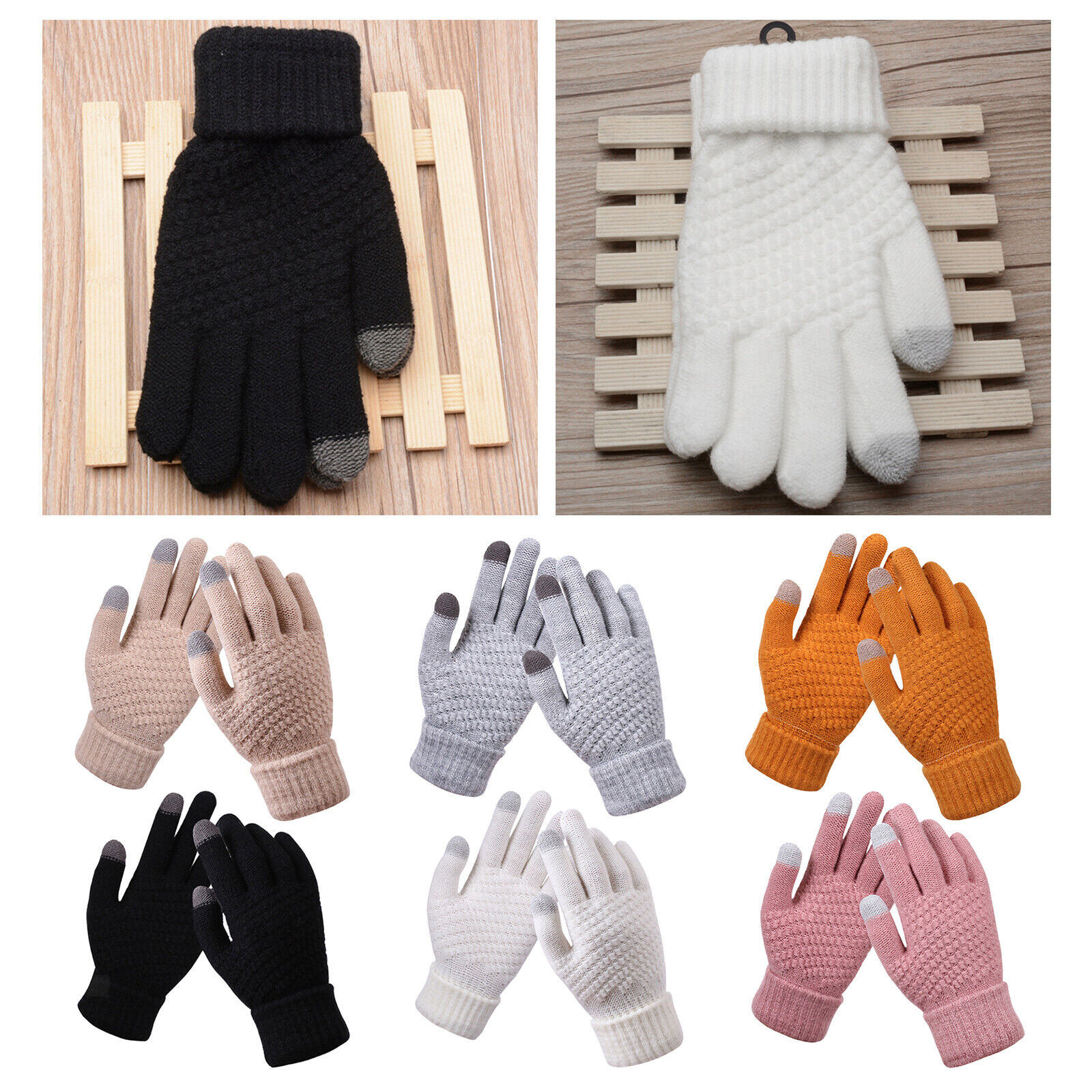 Ladies Womens Gloves Cable Knitted Thermal Fleece Lined Winter Warm Touch Screen