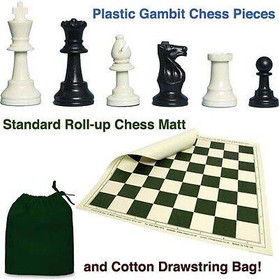 Plastic Gambit Chess Set, Roll-up Mat and Drawstring Bag