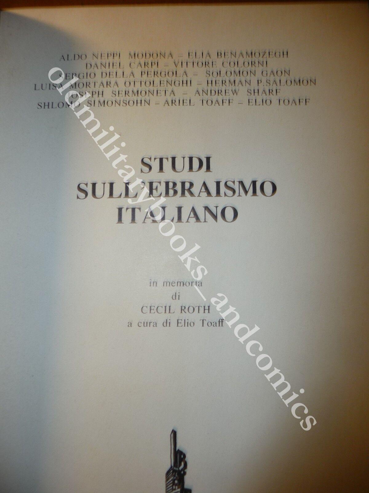 STUDI SULL'EBRAISMO ITALIANO VARI ARTICOLI ANCHE IN INGLESE A CURA DI ELIO TOAFF
